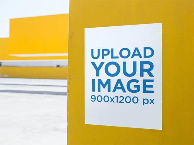 Yellow Wall Poster Mockup