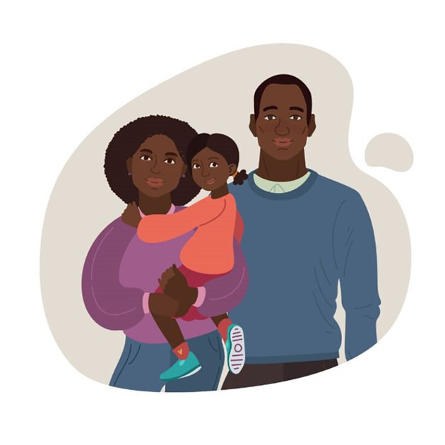 Young Smiling Family Portrait Illustration