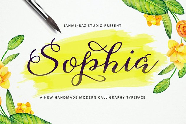 Sophia Cursive Fonts with Long Tails