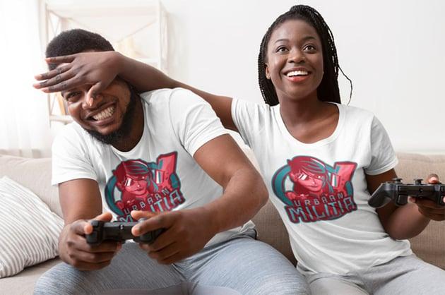 T-shirt mockup showing gaming logo