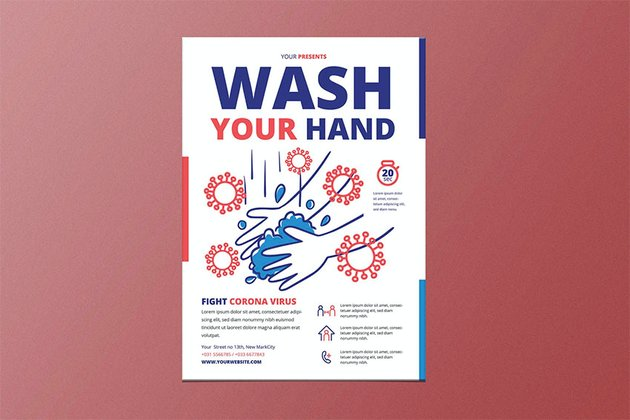 Wash Your Hand Poster Template
