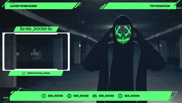 Neon Twitch Overlay Maker with Webcam Frame