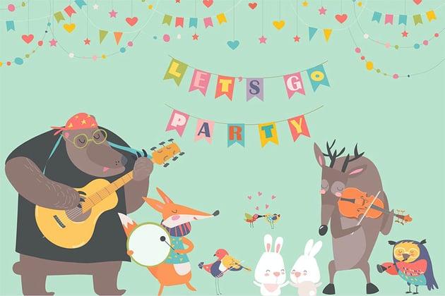 Cute Animal Illustrations - Music Band