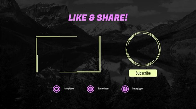 YouTube End Screen Card with Like and Share