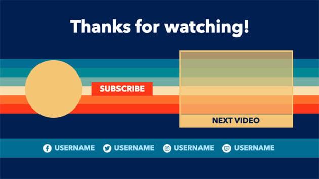 Colourful YouTube End Screen Card