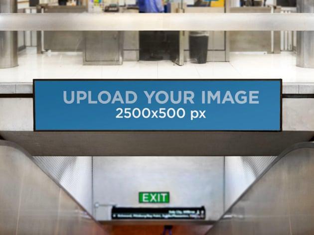 Billboard Mockup Template over a Mall Escalator
