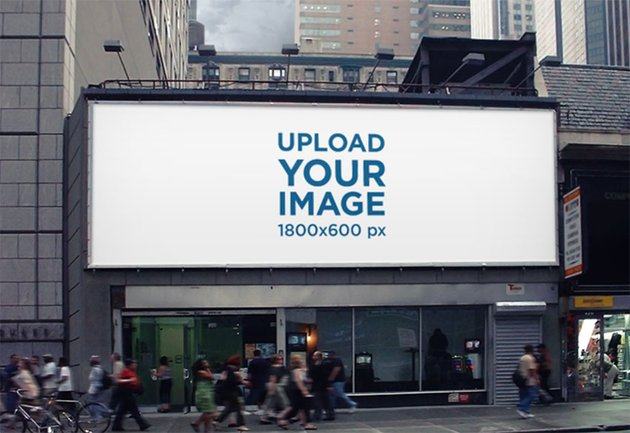 Horizontal Outdoor Billboard Mockup with People Passing By