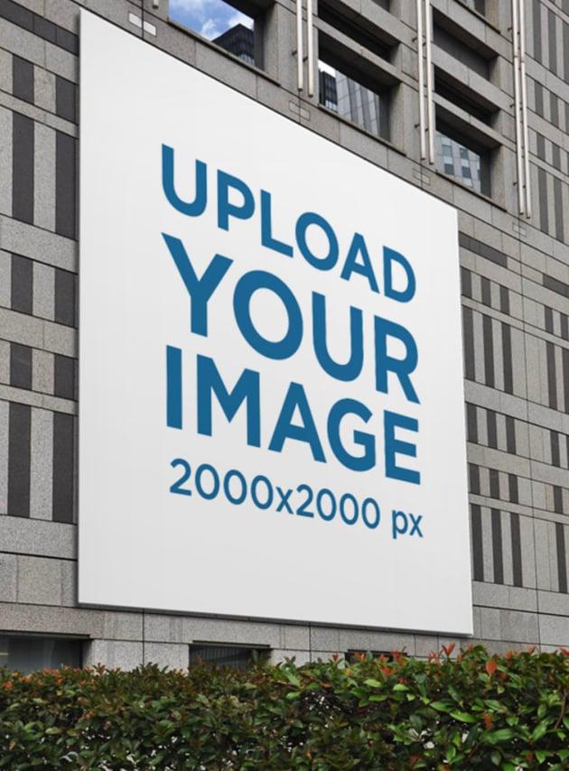 Square Billboard Mockup on a Concrete Building