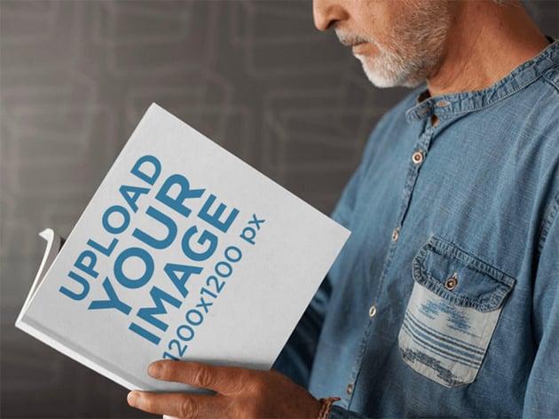 Book Mockup Generator showing Older Man