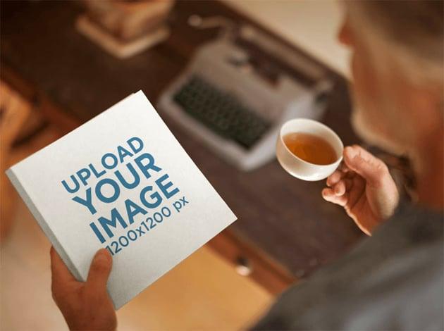 3D Book Mockup of Man Having Tea