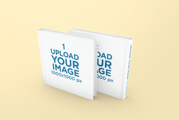 Square Coffee Table Book Mockup With Solid Color Background