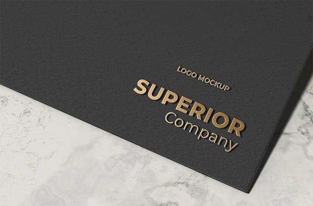Gold Embossed 3D Logo Mockup