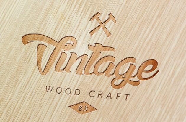 Wood 3D Logo Mockups