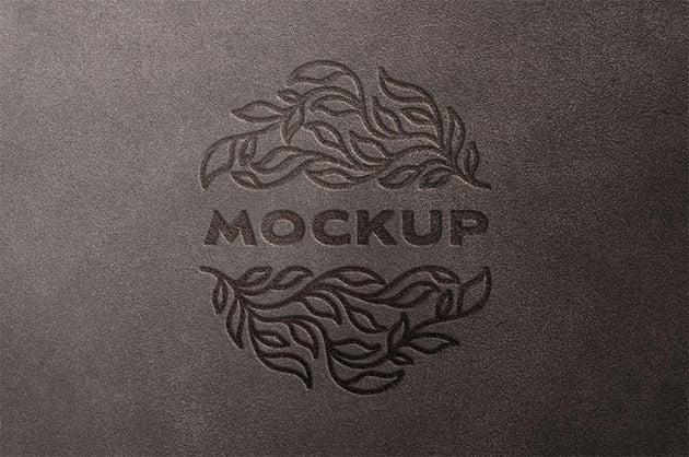 Leather 3D  Logo Mockup Photoshop