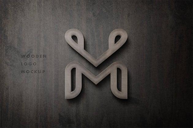 Wooden 3D Mockup for Logo