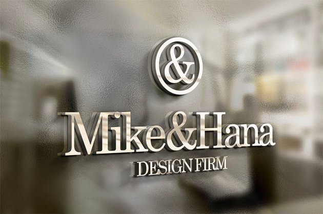 3D Office Glass Logo Mockup