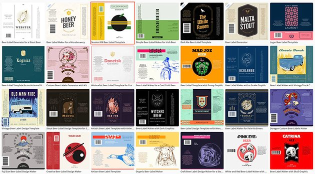 Select a beer bottle label template