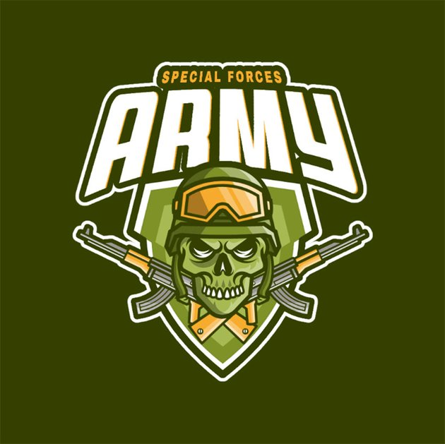 Gaming Logo Creator Featuring a Skull Emblem with AK-47s