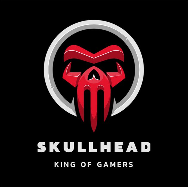 Gaming Logo Template Featuring an Abstract Skull Graphic