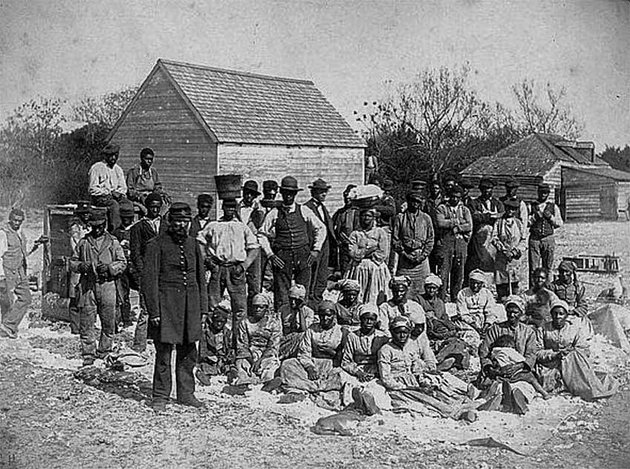 Thomas F Drayton with his slaves