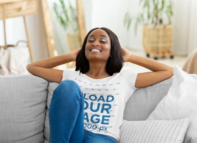 Woman relaxing in White T-Shirt Mockup