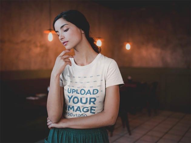 Woman in Plain White Shirt Mockups