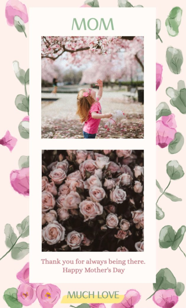 Free Instagram Story Template with Floral Background