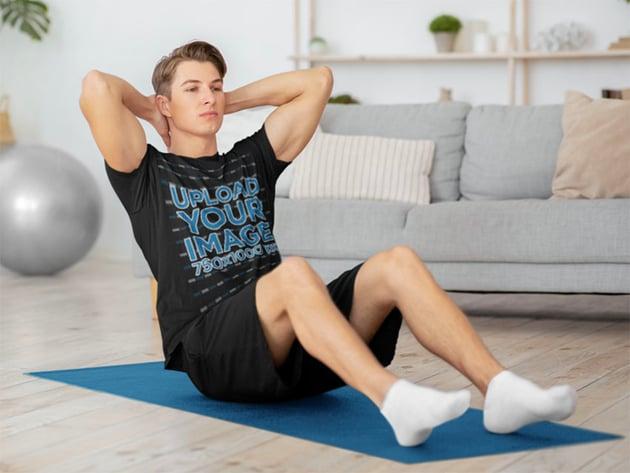 Man Exercising and Black Tee Mockup