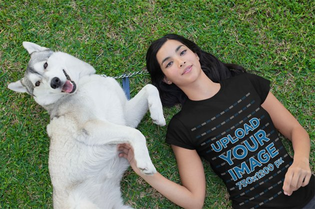 Dog with Woman in Black Shirt Mockup