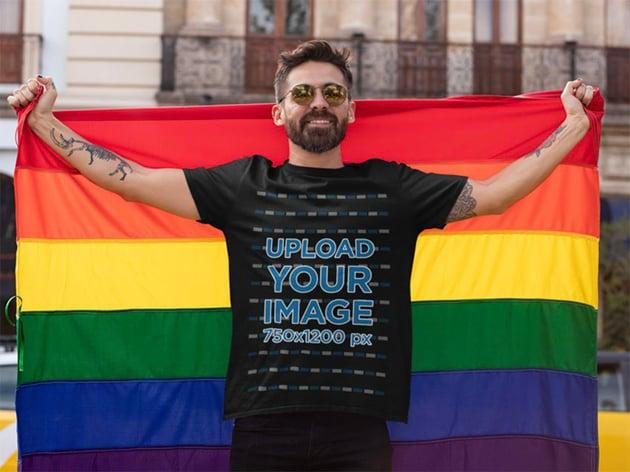LGBTQIA Flag and Black T-Shirt Mock up