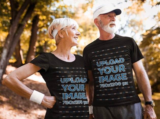 Sporty Couple with Black T-Shirt Mockup