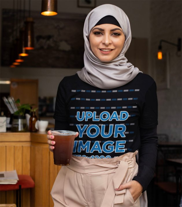 Woman in Cafe with Black Shirt Mockup