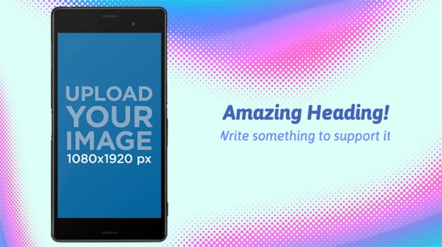 Android Phone Mockup With Colourful Background