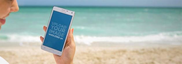 Android Mockup at the Beach