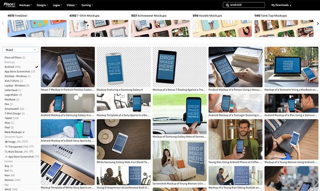 Search for Android Mockups