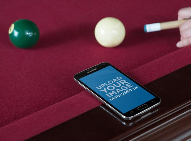 Android Mockup Template with Billard Table