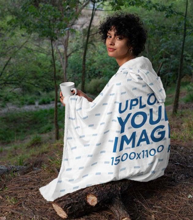 Hooded Blanket Mockup