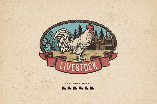 Livestock Old Fashioned Logo Design