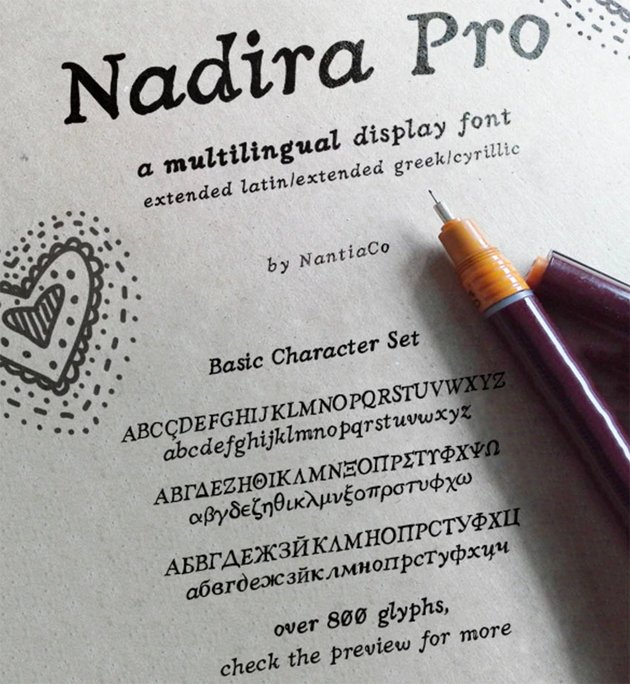 Nadira Pro Greek Cyrillic Style Font