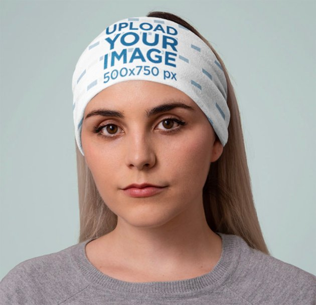 Mockup of a Woman at a Studio with a Tubular Bandana on Her Head