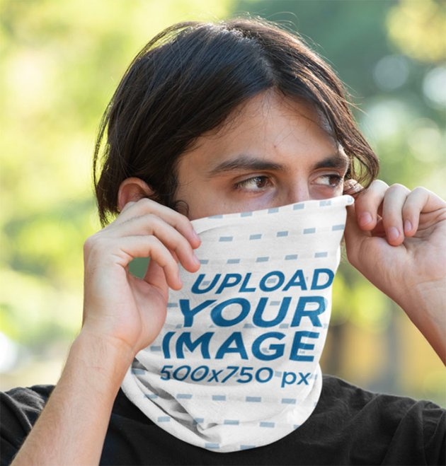 Neck Gaiter Mockup of a Covering His Face