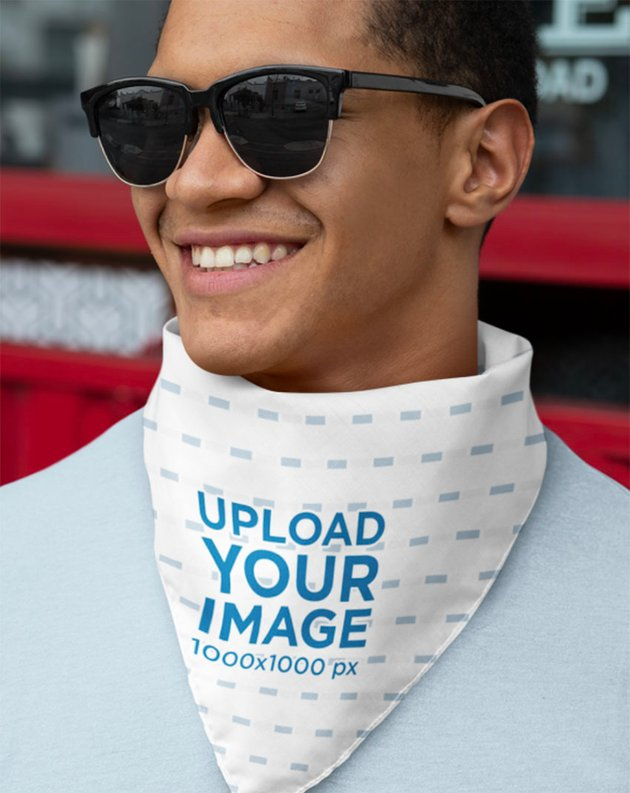 Bandana Mockup Template of a Man with Sunglasses