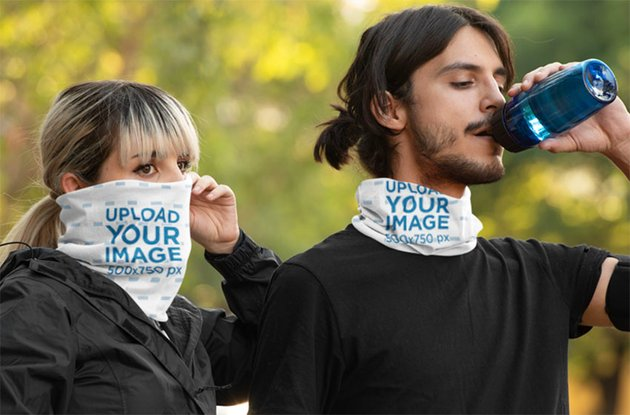 Mockup of a Man and a Woman Wearing Neck Gaiters