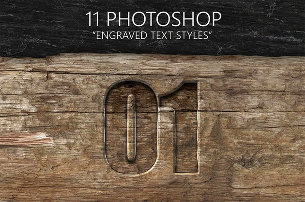 11 Engraved Photoshop Text Styles Pack
