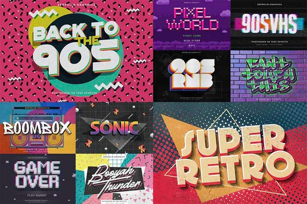 90s Photoshop Text Styles Pack