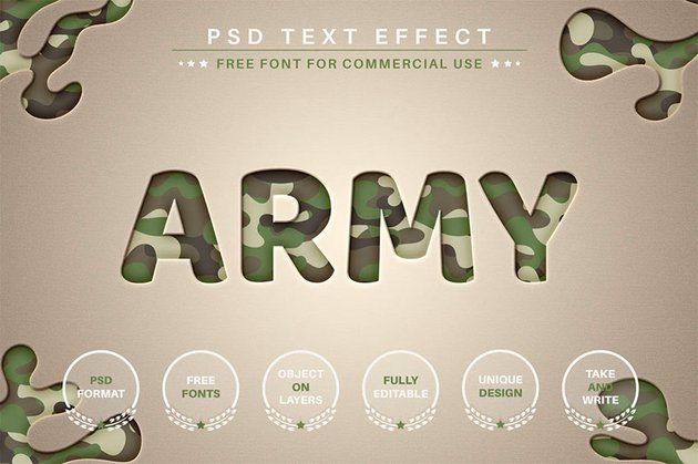 Army - Photoshop Text Styles PSD Download