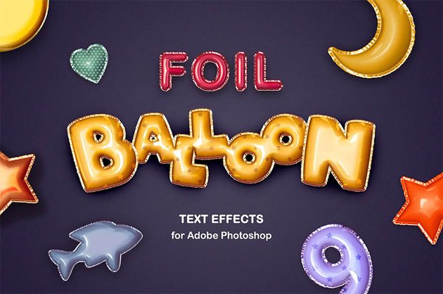 Foil Balloon Cool Text Styles Photoshop