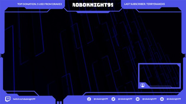 Twitch Overlay Border Template with a High-Tech Style