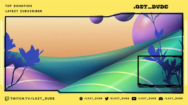 Twitch Webcam Border Featuring a Trippy Natural Landscape Background