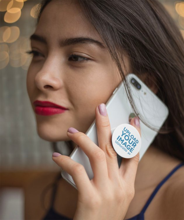 Blank Phone Grip Mockup Held By a Woman On The Phone